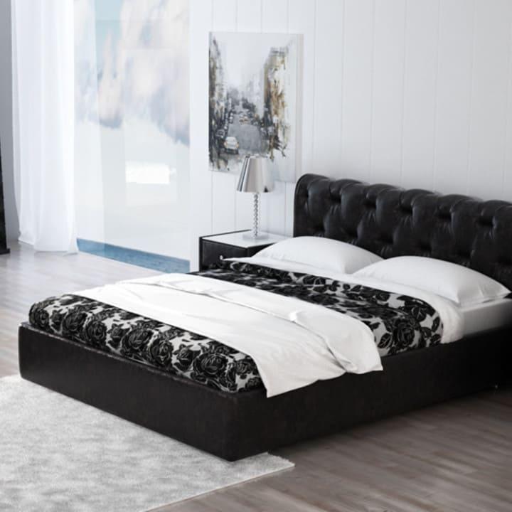 Кровать из текстиля и кожи КМ-4