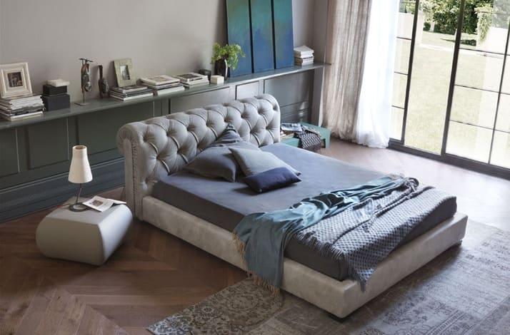 Кровать из текстиля и кожи КМ-26