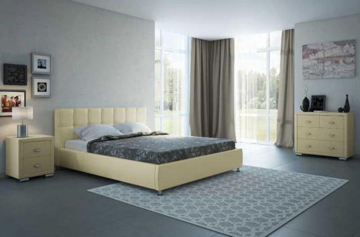 Кровать из текстиля и кожи КМ-27