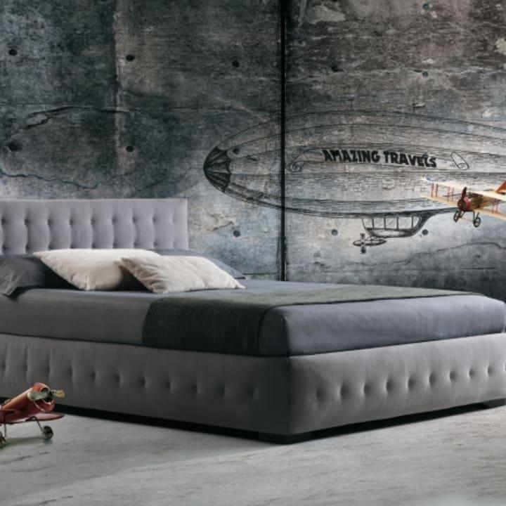 Кровать из текстиля и кожи КМ-42